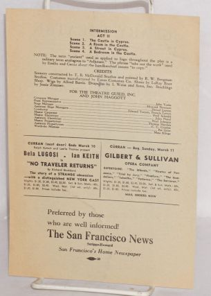 Geary Theatre; under the direction of the Curran Theatre Management, beginning Monday evening, February 19, 1945, matinees Wednesday and Saturday, the Theatre Guild presents the Margaret Webster production, Paul Robeson, Jose Ferrer and Utah Hagen in Othello