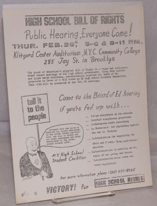 High School Bill of Rights. Public hearing, everyone come! [handbill