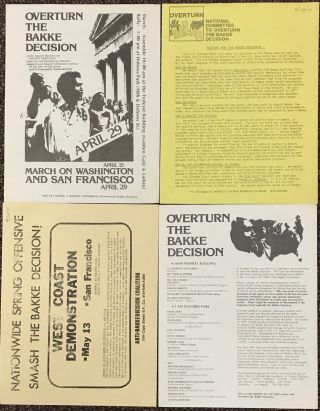 Four leaflets related to San Francisco Bay Area anti-Bakke decision demonstrations