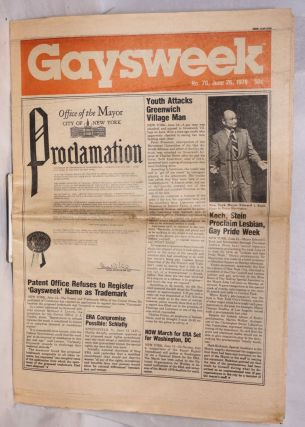 Gaysweek: #70, June 26, 1978; Office of the Mayor, Proclamation; Gay Pride Week. Alan Bell,...