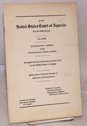 Brief amicus curiae in support of apellant [sic], Joni Rabinowitz. In the United States Court of...