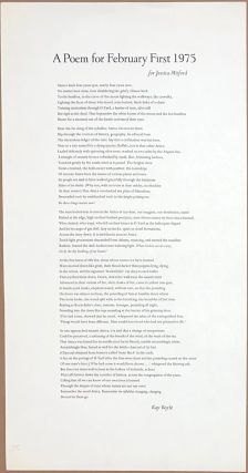 A Poem for February First 1975. For Jessica Mitford [broadside]. Kay Boyle