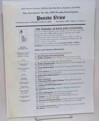 "Posada News: the newsletter for the 1994 Posada participants"" vol. 1, #3, November 1994; a fundraising candlelight walk for AIDS"