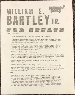 William E. Bartley Jr. for Senate. People's Party [handbill]. William E. Bartley, Jr