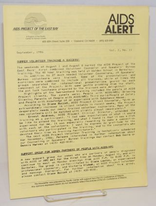 AIDS Alert [newsletter] vol. 1, #11, September, 1986
