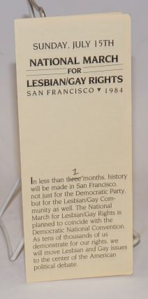 Sunday, July 15th, National March for Lesbian/Gay Rights, San Francisco 1984 [brochure