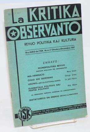 La Kritika observanto; revuo politika kaj kultura. Vol. 10 no. 4 (Oct-Dec. 1937