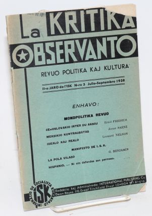 La Kritika observanto; revuo politika kaj kultura. Vol. 11 no. 3 (July-Sept. 1938