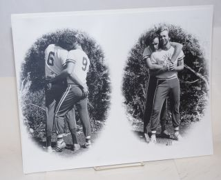 Photograph of gay male couple in Oil Can Harry sports clothing. Emery Reiff, photographer