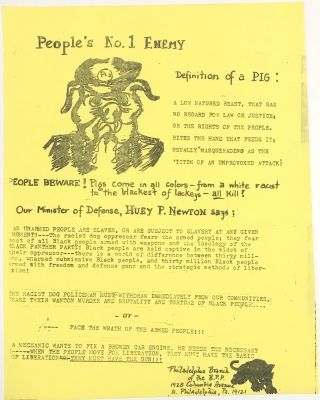 People's No. 1 Enemy. Definition of a pig... [handbill]. Philadelphia Branch Black Panther Party
