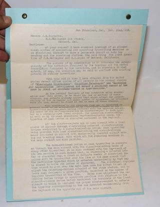Opinion as to Patentability of the Teletype [handwritten caption]. Teletype, E E. Osborn