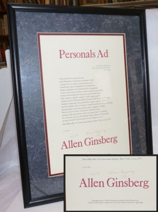 Personals Ad: signed, dated, matted and glass-framed broadside. Allen Ginsberg, Robert Creeley