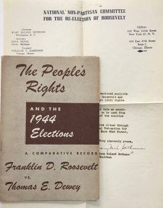 The people's rights and the 1944 elections: a comparative record, Franklin D. Roosevelt vs....