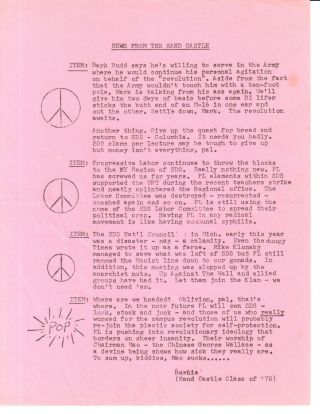 News from the Sand Castle [leaflet mailed to SDS members by the FBI as part of a COINTELPRO...