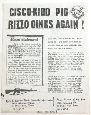 Cisco-Kidd pig Rizzo oinks again! [handbill]. Philadelphia Branch Black Panther Party