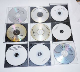 Florence Isbell - eight DVDs and a CD, labelled oral history, conversations, stories, photograph, New Haven [unviewed]