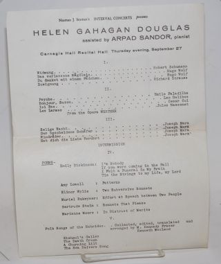 Norman J. Seaman's Interval Concerts presents Helen Gahagan Douglas assisted by Arpad Sandor,...