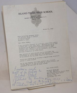 "Typed letter with handwritten note signed by Bowen with a draft of the preface to ""Beloved..."