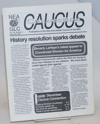 Caucus Connections: publication of the Gay and Lesbian Caucus of the NEA; vol. 8, #2, December...