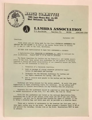 Los Angeles March Committee, Lambda Association informational brochure. Lambda Association