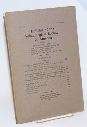 Bulletin of the Seismological Society of America, Vol. 5, No. 4, December 1915