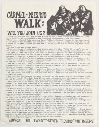 "Carmel-Presidio Walk: Will you join us? ... Support the twenty-seven Presidio ""Mutineers"" [handbill"