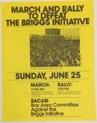 March and Rally to Defeat the Briggs Initiative [handbill]. Bay Area Committee Against the Briggs Intiative.