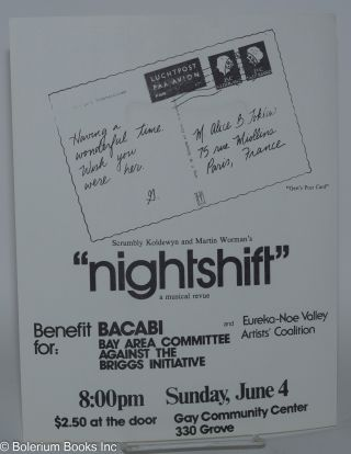 "Scrumbly Koldewyn and Martin Worman's ""Nightshift"" - a musical revue [handbill]"