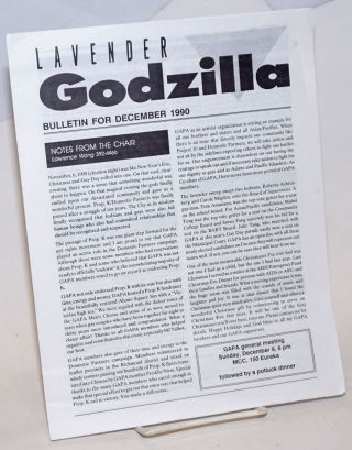 Lavender Godzilla Bulletin: (two issues). Gay Asian Pacific Alliance
