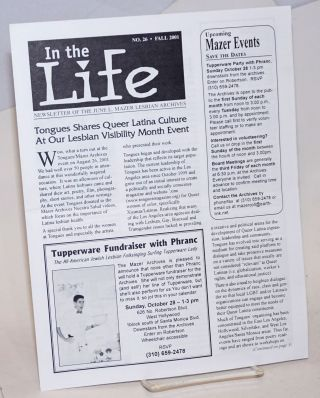 In the Life: newsletter of the June L. Mazer Lesbian Archives; #26, Fall 2001: Tongues shares...