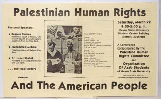 Palestinian Human Rights and the American People [handbill