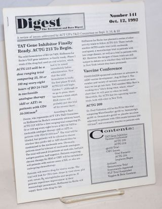 Digest: the treatment and data digest; #141 October 12, 1992; a review of issues addressed by ACT...