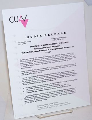 "CUAV Media Release: Community United gainst Violence releases report on ""Anti-Lesbian, Gay,..."