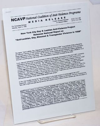 NCAVP Media Release: New York City Gay & Lesbian Anti-Violence Project releases National Report...