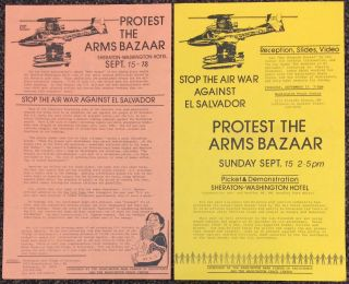 Stop the air war against El Salvador / Protest the Arms Bazaar [two different handbills