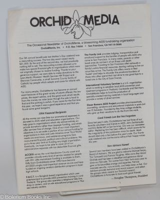 Orchid Media: the occasional newsletter of OrchidMania, a blossoming AIDS fundraising organization