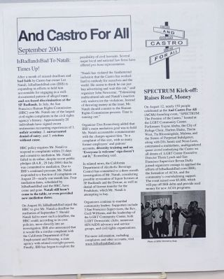 And Castro for All [newsletter] September 2004; IsBadlandsBad to Natali: Times Up!