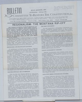 Bulletin, Committee to Restore the Constitution, Inc., July/August, 1974. Major Arch E. Roberts