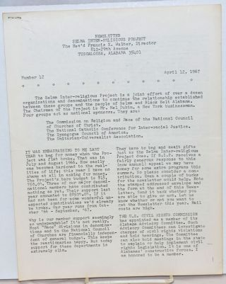 Newsletter Selma Inter-religious Project, no. 12, April 12, 1967. Francis X. Walter, ed