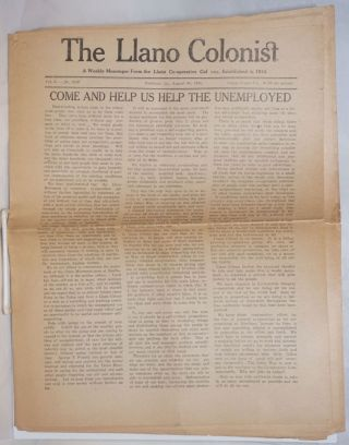 The Llano Colonist, a weekly messenger from the Llano Co-operative Colony. Vol. 10, no. 1019,...