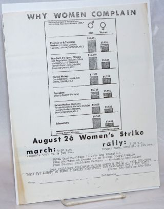 Why women complain... August 26 Women's Strike, march: 5:30 p.m., assemble 59th St. & 5th Ave.,...