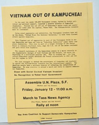 Vietnam out of Kampuchea! [handbill