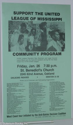 Support the United League of Mississippi. Community program [handbill