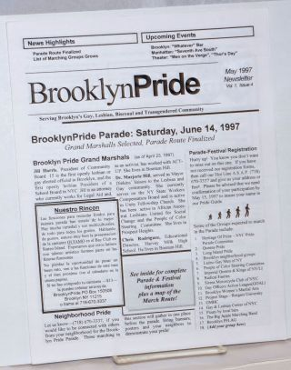 BrooklynPride Newsletter: vol. 1, #4, May 1997; BrooklynPride Parade: Saturday, June 14, 1997