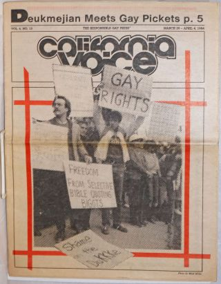California Voice: the responsible gay press; vol. 6, #13, March 29-April 4, 1984; Deukmejian...