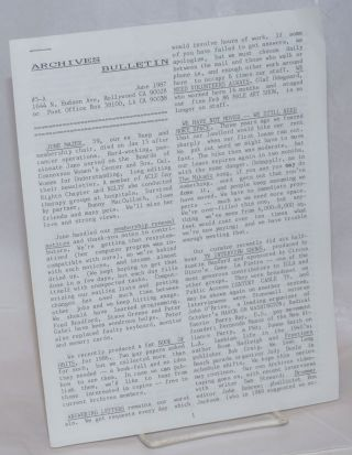 Archives Bulletin #5-A, June 1987