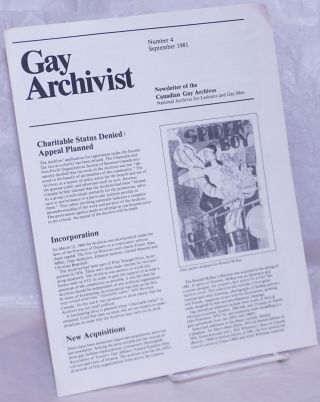 Gay Archivist: newsletter of the Canadian Gay Archives number 4, September 1981