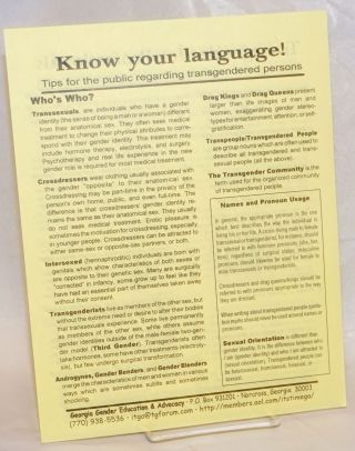 Know Your Language! tips for the public regarding transgendered persons [handbill