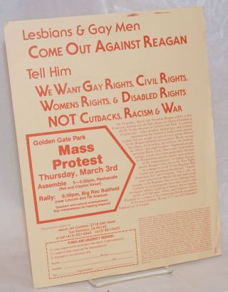 Lesbians & Gay Men Come Out Against Reagan [handbill] tell him we want gay rights, civil rights,...