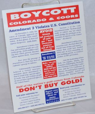 Boycott Colorado & Coors [leaflet] Amendment 2 violates U.S. Constitution